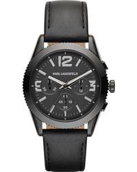 Karl Lagerfeld Unisex Chronograph Kurator Black Leather Strap Watch 42mm - Lyst