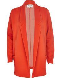 River Island Red Textured Jersey Blazer - Lyst