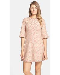 Cynthia Steffe 'Saira' Bell Sleeve Lace A-Line Dress pink - Lyst