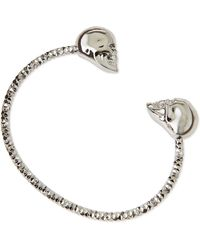 Alexander McQueen Twin Skull Silvertone Bracelet - Lyst