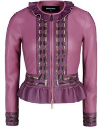 DSquared² Leather Outerwear purple - Lyst