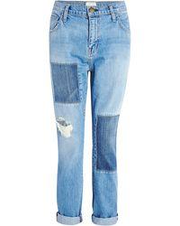Current/Elliott The Fling Patchwork Jeans - Lyst