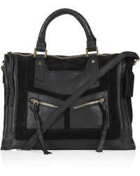 Topshop Smart Suede and Leather Holdall - Black - Lyst