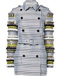Matthew Williamson Geometric Jacquard Embroidered Trench Coat - Lyst