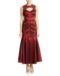 Xscape Petite Lace-Trimmed Taffeta Mermaid Gown - Lyst