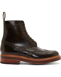 Grenson Brown Leather Brogue Fred Boots - Lyst