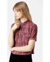Topshop  Moto Plaid Crop Shirt - Lyst