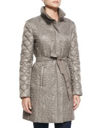 T Tahari Milano Belted Puffer Jacket - Lyst