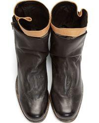 Miharayasuhiro - Black Leather and Tweed Layered Boots - Lyst
