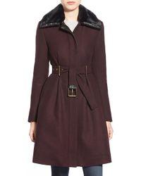Belle By Badgley Mischka - 'evelyn' Faux Fur Collar Belted Wool Blend Coat - Lyst