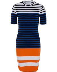 T By Alexander Wang Blue Engineered Stripe Dress - Lyst