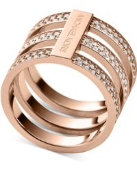 Michael Kors Clear Pavé Tristack Ring - Lyst