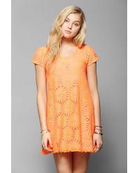 Kimchi Blue - Knit Floral Lace Trapeze Dress - Lyst
