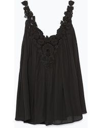 Zara Crochet Front Top - Lyst