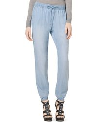 MICHAEL Michael Kors Pull-on Chambray Track Pants - Lyst
