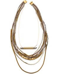 Serefina - Beaded Layer Pyrite Set Necklace Wheat - Lyst