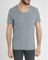 American Vintage Grey-Blue Cotton-Jersey Pocket T-Shirt - Lyst