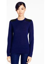 Kate Spade Patch Leather Sweater - Lyst