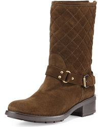 Aquatalia by Marvin K Sage Quilted Suede Moto Boot - Lyst