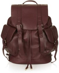 79ff00eb4419 TOPSHOP - Grainy Faux Leather Pocket Backpack Burgundy - Lyst