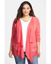 DKNY Sheer Pieced Drape Front Cardigan - Lyst