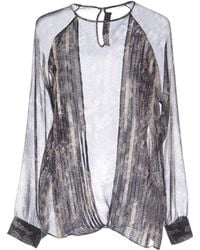 Yigal Azrouel Long-Sleeves Silk Multicolour Pattern Blouse - Lyst