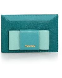 Miu Miu | Madras Bicolor Leather Bow Card Case | Lyst