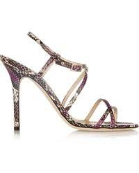 Jimmy Choo Issey Snake-Effect Leather Sandals - Lyst