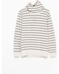 Zara Striped Funnel-Neck Sweatshirt beige - Lyst