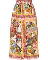 Dolce & Gabbana Printed Cotton Midi Skirt - Lyst