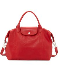 Longchamp Le Pliage Cuir Handbag With Strap - Lyst
