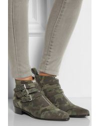 Tabitha Simmons Early Camouflageprint Suede Ankle Boots - Lyst
