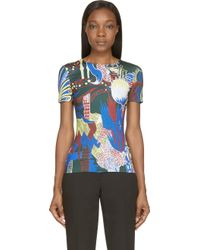 Mary Katrantzou Dark Green Jungle Palette Print Fitted T_Shirt - Lyst