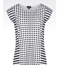 Armani Jeans T-Shirt In Printed Cotton Jersey - Lyst