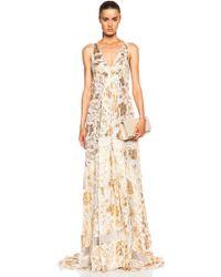 Altuzarra Bassano Floral Fil Coupe Gown gold - Lyst
