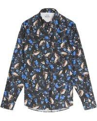 Acne Studios Isherwood Marble Print Shirt - Lyst