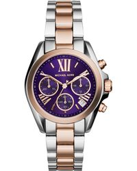 Michael Kors Women'S Chronograph Mini Bradshaw Two-Tone Stainless Steel Bracelet Watch 36Mm Mk6074 - Lyst