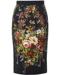 Dolce & Gabbana Floralprint Cady Pencil Skirt - Lyst