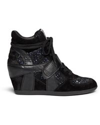 Ash 'Bowie' Sequin Crochet High Top Wedge Sneaker - Lyst