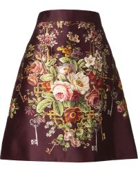 Dolce & Gabbana Red Floral Skirt - Lyst