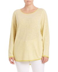 Eileen Fisher | Striped Linen & Cotton Top | Lyst