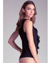 Bebe Ruffle Sleeveless Bodysuit - Lyst