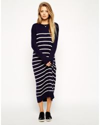 Asos Midi Sweater Dress In Brushed Stripe blue - Lyst