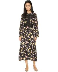 Jill Stuart | Kimberly Long Sleeve Maxi Dress - Noir | Lyst