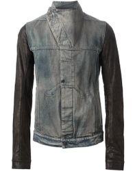 DRKSHDW by Rick Owens Leather Sleeve Denim Jacket - Lyst