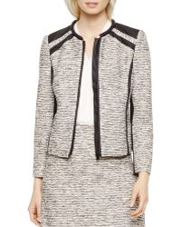 Vince Camuto - Faux Leather Trim Tweed Jacket - Lyst