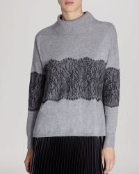 Karen Millen Sweater - Lace Trim Mock Neck - Lyst