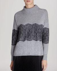 Karen Millen Sweater - Lace Trim Mock Neck - Lyst