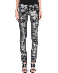 Diesel Coated Skinny Midrise Jeans Silver Foil - Lyst
