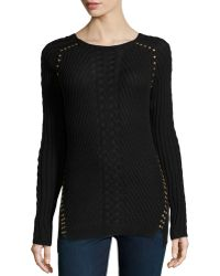 Philosophy Studded Cableknit Detailed Sweater - Lyst